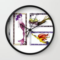 mermaids Wall Clocks featuring Mermaids by Andrea Palagiano