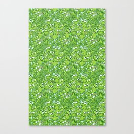Funny green frogs entangled in a messy pattern Canvas Print
