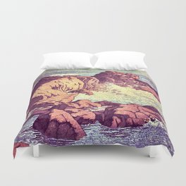 Stopping by the Shore at Uke Duvet Cover