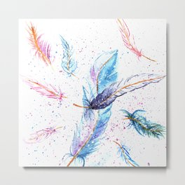 Watercolor Feather Art Pattern Metal Print