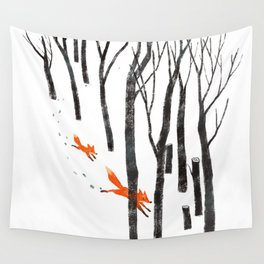 Foxes running in the Woods Wall Tapestry