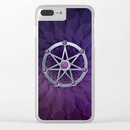 Elven star SIlver embossed with Amethyst Clear iPhone Case