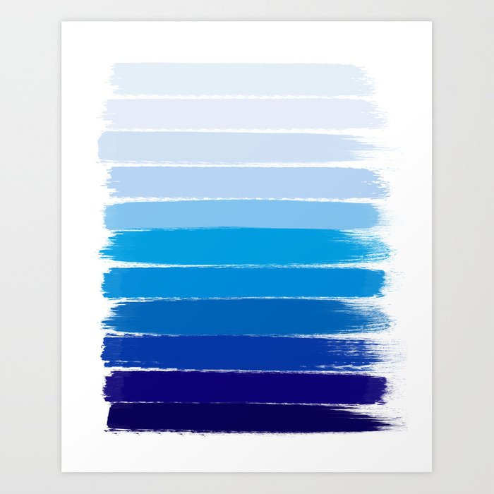 Kent Blue Ombre Brush Strokes Art Art Print By
