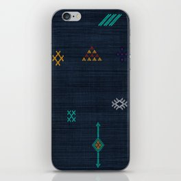Cactus Silk Pattern in Navy Blue iPhone Skin