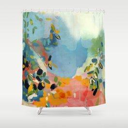 garden with sea view and olive tree Shower Curtain