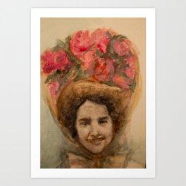 Watercolor Portrait of a Lady in an Easter Bonnet Art Print