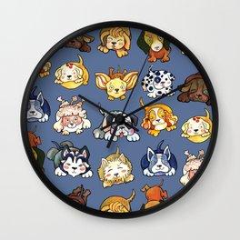 Kawaii Cute Dogs on Blue by dotsofpaint Wall Clock