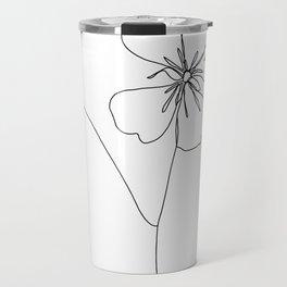 Botanical floral illustration line drawing - Geranium Travel Mug