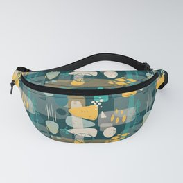 Mid Century Shapes Pattern Blue Fanny Pack