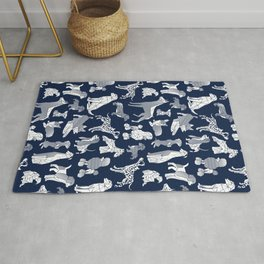 Geometric sweet wet noses // navy blue background white dogs Rug