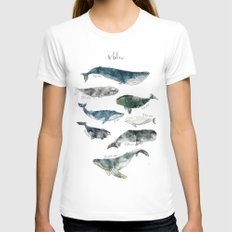 Whales White MEDIUM Womens Fitted Tee