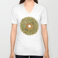 70s V-neck T-shirts featuring Peacock Mandala – 70s Palette by Cat Coquillette