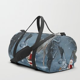 Santa Claus with ice dragon in a winter landscape Duffle Bag