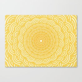 Spiral Mandala (Yellow Golden) Curve Round Rainbow Pattern Unique Minimalistic Vintage Zentangle Canvas Print