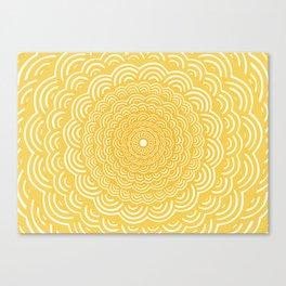 Spiral Mandala (Yellow Golden) Curve Round Rainbow Pattern Unique Minimalistic Vintage Zentangle Canvas Print