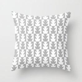 Art Deco Jagged Edge Pattern Gray Throw Pillow