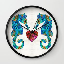Sea Lovers - Seahorse Beach Art by Sharon Cummings Wall Clock
