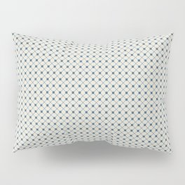 Blue Angled Polka Dot Grid Line Pattern on Linen White - 2020 Color of the Year Chinese Porcelain Pillow Sham