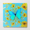 BLUE BUTTERFLY YELLOW AMARYLLIS PATTERNED ART by sharlesart