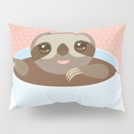 Sloth in a blue cup coffee, tea, Three-toed slot Pillow Sham