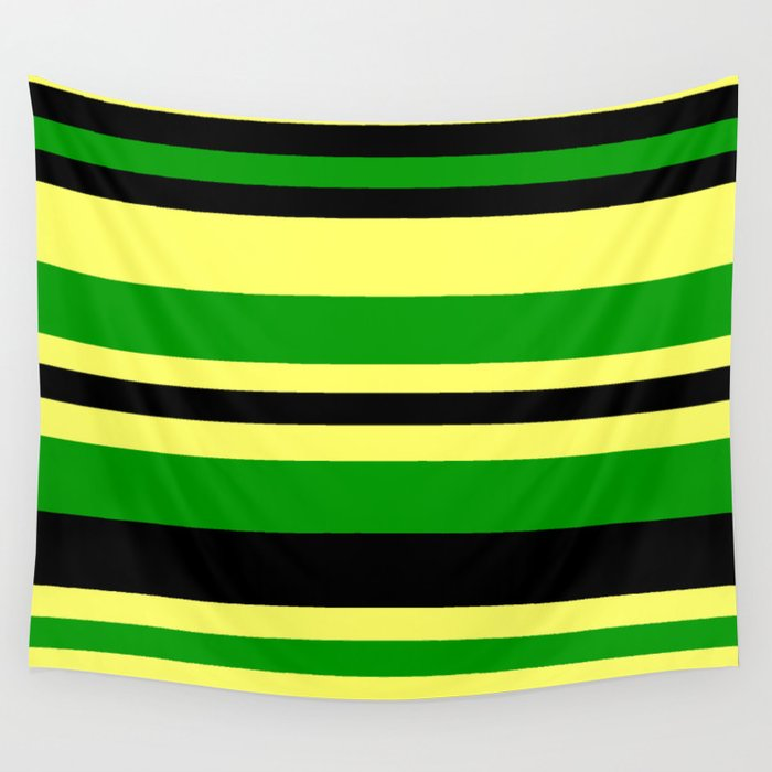 Jamaican Inspired Strips Wall Tapestry