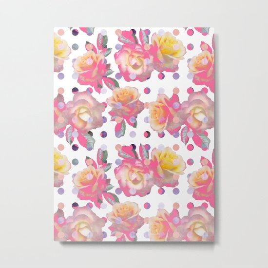 Sweet Pink Rose Garden Metal Print