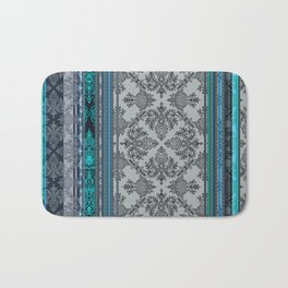 Teal, Aqua & Grey Vintage Bohemian Wallpaper Stripes Bath Mat