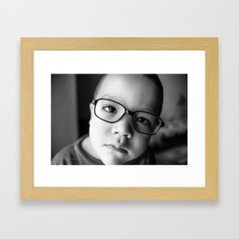 Cute kid with glasses  Framed Art Print