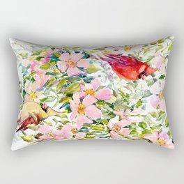 Cardinal Birds and Wild Rose Flowers Rectangular Pillow
