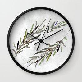 Eucalyptus Leaves White Wall Clock