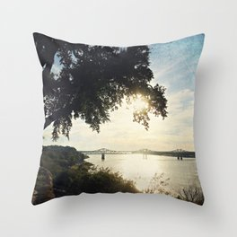 Mississippi River at Natchez Throw Pillow