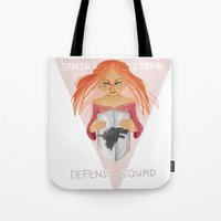 sansa stark Tote Bags featuring Sansa Stark Defense Squad by laurarts