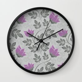 Liana purple flowers . Wall Clock