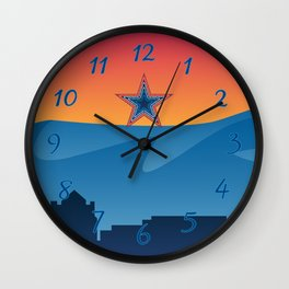 Roanoke pride illustration with mountains, star, city scape and sunset Wall Clock