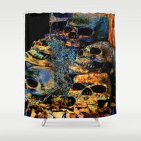 skulls Shower Curtains featuring Skulls By Annie Zeno by AZ Creative Visions