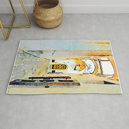 Foreshortening of the alley with arches Rug
