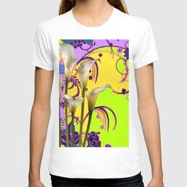 Fantasy Calla Lily Garden Gold-Lilac-Lime Color Designs T-shirt