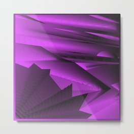 Strange gentle landscap with stylised mountains, sea and violet Sun. Metal Print