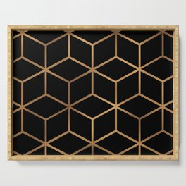 Black and Gold - Geometric Cube Design Serving Tray