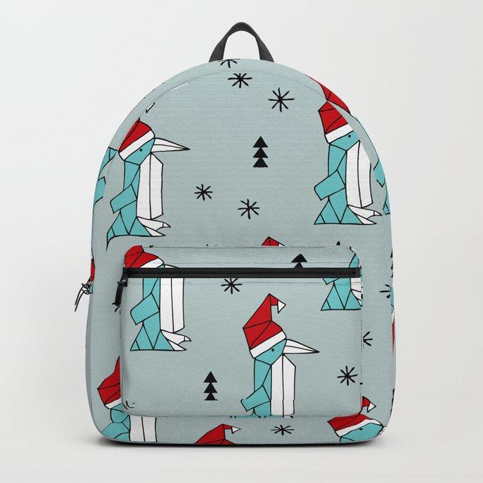 Winter Wonderland Christmas Theme.Santa Penguins Winter Wonderland Christmas Theme Illustration Origami Pattern Backpack By Littlesmilemakersstudio