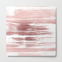White elegant faux rose gold modern brushstrokes Metal Print