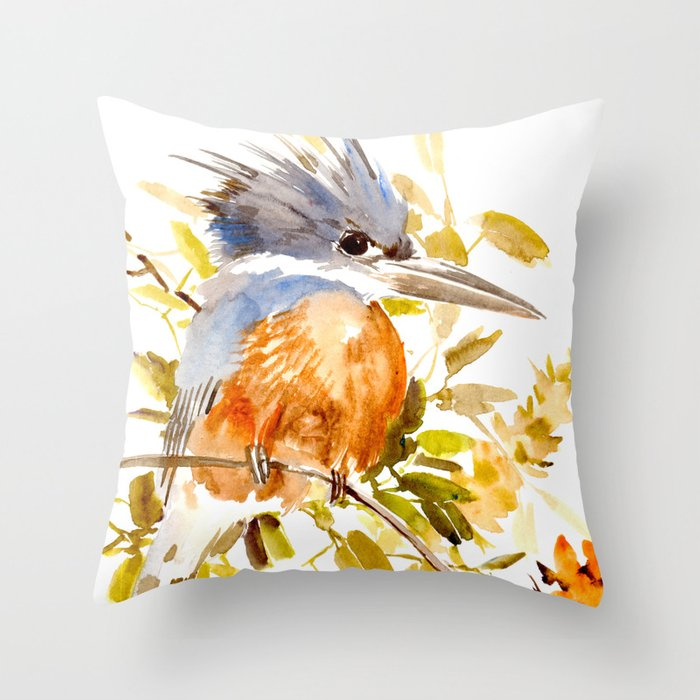 Belted Kingfisher Home Decor Throw Pillow By Sureart Society6