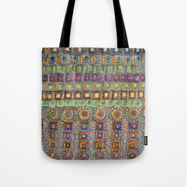 Marvellous Rows of Squares and Circles with Points Tote Bag
