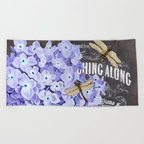 Vintage Flowers #4 Beach Towel
