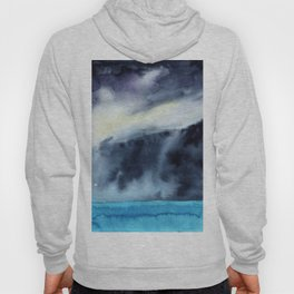 Watercolor blue sea on a background of thunderclouds Hoody