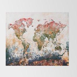 world map colors splats Throw Blanket