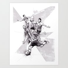 2014 World Cup Stars BW Art Print