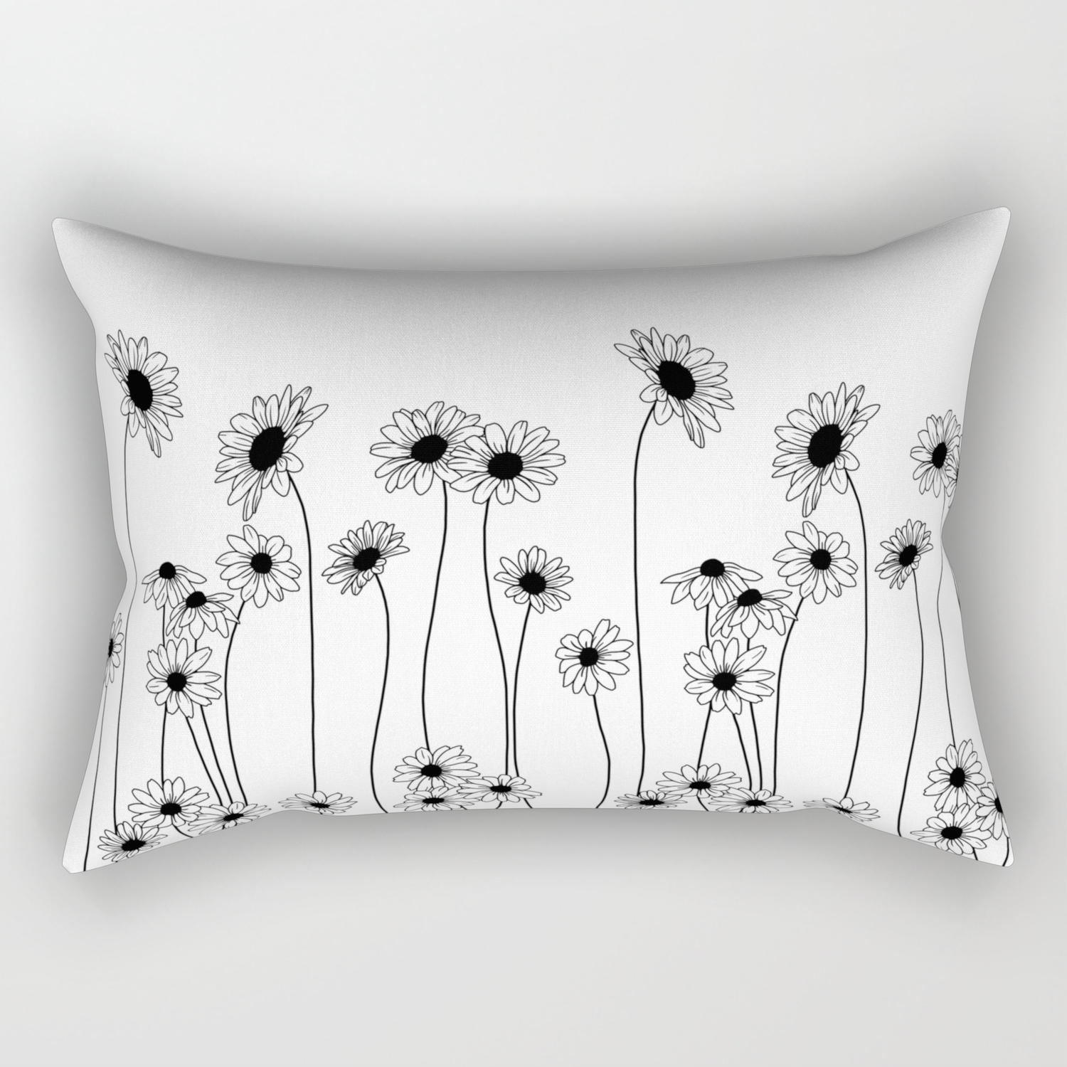 Minimal Line Drawing Of Daisy Flowers Rectangular Pillow By Thecolourstudy Society6