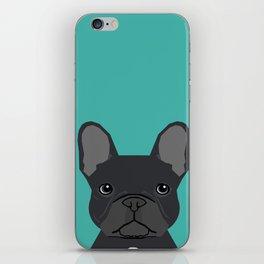 French Bulldog black coat peeking cute frenchie pure breed dog lover gifts iPhone Skin