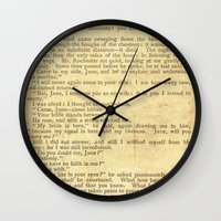 jane eyre Wall Clocks featuring Jane Eyre, Mr. Rochester First Marriage Proposal by Charlotte Bronte by ForgottenCotton